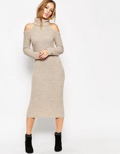 ASOS Oversized Sweater Dress In Rib With Roll Neck and Cold Shoulder
