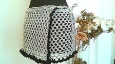 Beach mini skirt cover up beach wear crrochet by Thecatandtheyarn