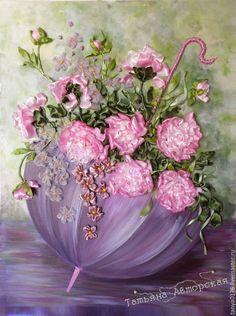 """Купить """"ЗОНТИК СЧАСТЬЯ"""" Пионы - бледно-розовый, картина в подарок, картина для интерьера, пионы лентами"""