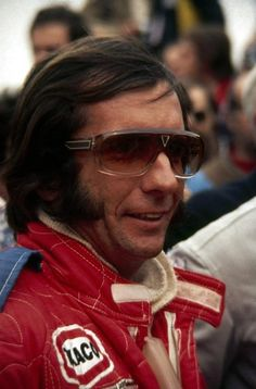 Vintage Santonex of France sunglasses. Worn by racing car legend Emerson Fittipaldi shortly before the Austrian GP in 1973.