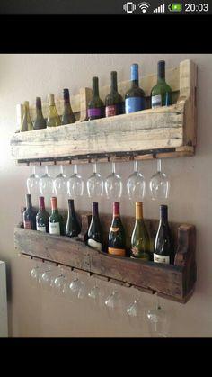 Paletten Wein / Glas Regal