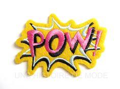 """Patch ,écusson thermocollant Bande dessinée """" POW """" à coudre ou repasser 80 x 55 mm - patch bulle : Déco, Customisation Textile par une-histoire-de-mode"""