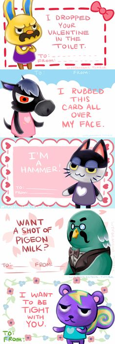some Animal Crossing valentines…