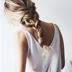 Light Blonde & Brown Hair with Messy Braid Hairstyle
