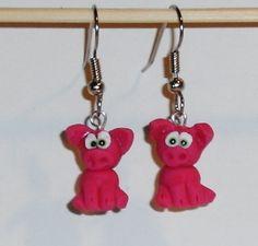 Ohrringe Schwein Tiere Fimo Hänger Durchzieher Damen Ohrschmuck Modeschmuck Rosa