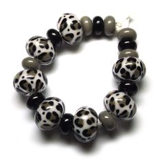 'Snow Leopard' ~ Lampwork glass beads by Laura Sparling #leopardprint