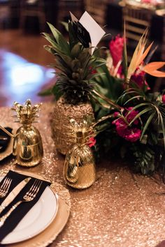 This glam gold and black tropical wedding is filled with exotic elegance. It's an indoor tropical paradise of palm trees, exotic flowers and striking gold details with pops of teal and fuchsia. Tropical Party, Tropical Paradise, Tall Gold Vases, Summer Wedding, Our Wedding, Party City Balloons, Bridal Party Tables, Exotic Flowers, Wedding Themes