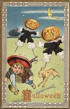 Antique Halloween postcard...looks like Buster Brown and his dog, Tige.