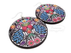 Decoupage folk earrings Wooden Jewelry, Decoupage, Folk, Decorative Plates, Earrings, Ear Rings, Stud Earrings, Popular, Ear Piercings
