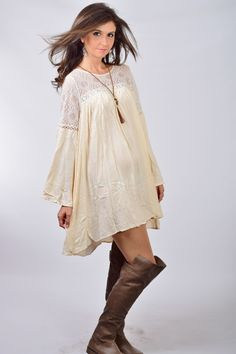 Umgee Ivory Bell Sleeve Dress with Sheer Top
