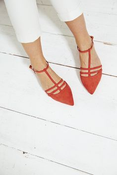 "Almodovar style shoes.  ""Injecting a pop of bold colour via your shoes is always a good thing and these new season flats in burnt orange are the best."" Sarah, the Boden Stylist. #NewBritish"