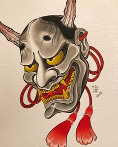 Hannya painting. Available to be tattooed. Maybe a print. Either way, painting is relaxing. FOR BOOKINGS ���