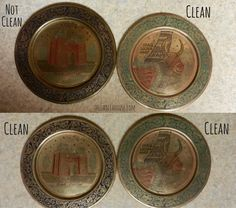 Don't buy chemicals with harsh fumes to remove tarnish and clean brass and copper. Clean it the easy way with an ingredient you probably already have! House Cleaning Tips, Cleaning Hacks, Remove Tarnish, How To Clean Copper, Tarnish Remover, Brush Cleaner, Clean House, Decorative Plates, Simple