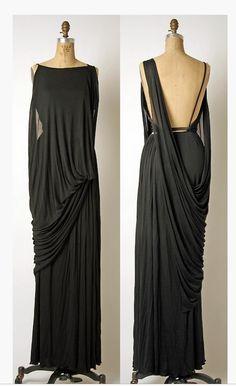 096cdd20d729 beautiful black draping  fashion  style Grecian Dress