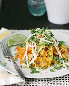 Spaghetti Squash Pad Thai | A Couple Cooks  Definitely use more ingredients, it was a little plain with just the squash, egg and carrots