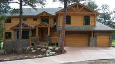 Need a garage in your log home plans? :) Log Home Design Plan and Kits for Cherokee Log Cabin Floor Plans, Log Cabin Kits, Log Home Plans, Log Cabin Homes, House Plans, Log Cabins, Mountain Cabins, Cherokee, Log Homes For Sale