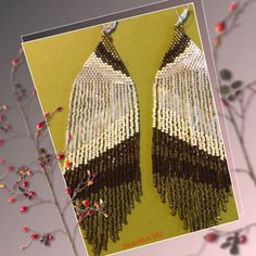 Seed Beaded Earrings Ear Art Bronze Gold Olive White di Bead4Fun