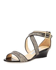 Jimmy Choo Chiara Glitter Crisscross Demi-Wedge Sandal, Natural/Black