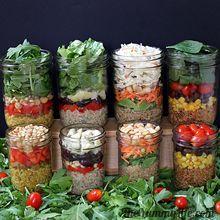 Quinoa Salad-In-A-Jar in 4 international flavors. TheYummyLife.com