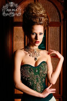 "Silk corset ""The Firebird"" , hand-embroidered pearls and Swarovski crystals, spiral metal bones. Via Juliana Corsets"
