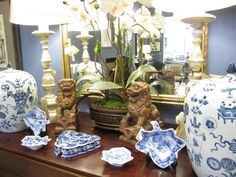 blue and white, chinese fu dogs and orchids...