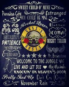Guns N' Roses songs list Guns N Roses, Rock Posters, Band Posters, Dave Matthews, Rock And Roll Bands, Rock N Roll, Rock Band Logos, Sweet Child O' Mine, Axl Rose