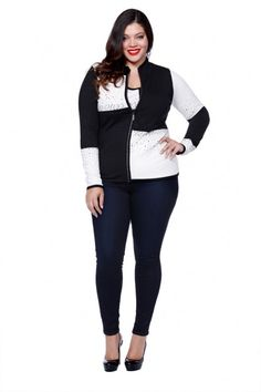 6103673792a61 Belldini Plus Size Tops take black and white jacket to a new level! Stay  Chic