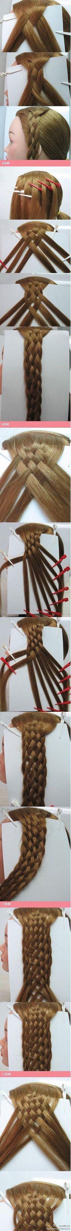 6 strand braid - for Acacia's hair Plaits Hairstyles, Pretty Hairstyles, Coiffure Hair, Plait Hair, Types Of Braids, Doll Hair, Tips Belleza, Great Hair, Hair Dos