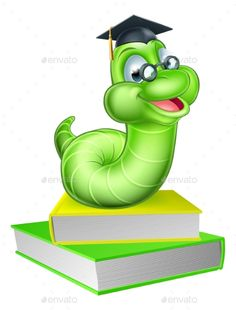 a892569698d04 Buy Cartoon Caterpillar Worm by Krisdog on GraphicRiver. Cute smiling green  cartoon caterpillar worm bookworm mascot wearing glasses and graduation hat  with ...