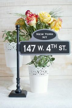 Old New York Street sign post table number holders by Thestandshop, $12.00