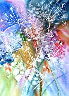 Original pinner sez: No link, but I'm guessing, draw flowers with masking fluid, drop wet into wet colours, sprinkle salt, allow to dry, rub off masking fluid. It would work by drawing in the flowers with a fine white crayon I should imagine. Something I'm going to have a go at.