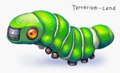 """Green caterpillar from 3d indie game """"Terrarium-land"""". #Terrarium_land, #gamedev, #indiedev, #art, #animals,"""