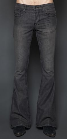 Style #M64-503gry: Mens Rocker-black Vintage Wash Stretch Denim