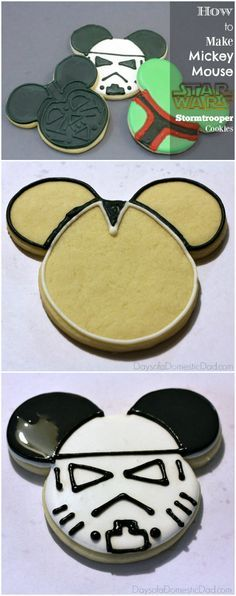 How to Make Your Own Mickey Mouse Star Wars Stormtrooper Cookies. #StarWars #Disney