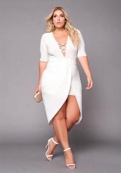 Plus Size Plunge Cross Strap Surplice Bodycon Dress