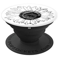 Black and White Sunflower Floral - PopSockets Grip This cute flowery PopSocket Grip features a black and white sunflower design created from a digitally enhanced floral photograph of a garden sunflower blossom. It makes a perfect botanical gift for a birthday or holiday gift giving idea for a flower lover, gardener or florist. Collapsible grip provides a secure hold for easier texting, calling, photos, and selfies. #sunflowers #popsockets #cellphoneaccessories #cellphoneholders White Sunflower, Sunflower Gifts, Sunflower Design, Diy Gifts, Best Gifts, Handmade Gifts, Diy Pop Socket, Pop Sockets Iphone, Farewell Gifts