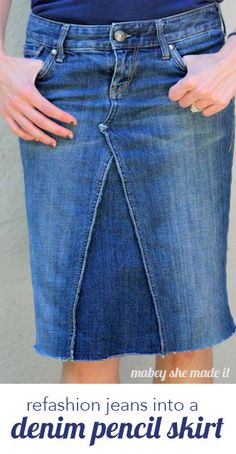 How to Make a Skirt Out of Jeans Learn how to make a skirt out of jeans using this tutorial. Turn denim jeans into a jean skirt using this refashion tutorial and make a cute new skirt today Pencil Skirt Tutorial, Denim Pencil Skirt, Denim Skirt, Pencil Skirts, Midi Skirts, Long Skirts, How To Make Jeans, How To Make Skirt, Jeans Refashion