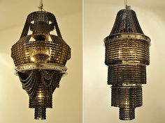 A chandelier made of old BIKE CHAINS