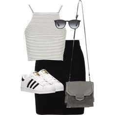 Untitled #8529 by alexsrogers on Polyvore featuring Topshop, T By Alexander Wang, adidas, Alexander Wang and Ray-Ban