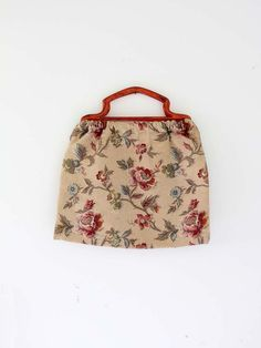1950s floral knitting bag