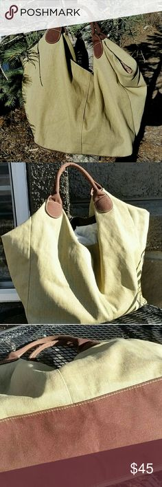 """Large Canvas Market Tote Bag Olive Green and Brown Large Canvas Market Bag Tote Rugged Casual Military Color Canvas Handbag Shopping Bag Woodsman Natural Fiber Jungalow Storage Boho Cabin.  For the natural woman, or as a jungalow accent.  Sturdy and satisfying.   Olive green and brown.  Measures 29"""" ? 13"""" ? 5 1/2"""". Bags Totes"""