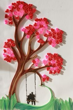 Quilled tree with couple on a swing