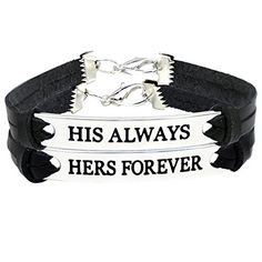 His And Her Bracelets Leather For Couples , Couples Jewel...