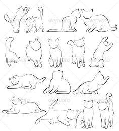 Buy Cat Silhouettes by ld-design on GraphicRiver. Set of Cat Silhouettes. Cat Silhouette Tattoos, Silhouette Cameo 4, Animal Sketches, Animal Drawings, Texture Illustration, Dog Tattoos, Tattoo Cat, Cat Outline Tattoo, Hp Tattoo