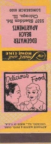 MATCHBOOK - CHICAGO - EDGEWATER BEACH APARTMENTS - 5537 SHERIDAN ROAD - DELICIOUS FOOD