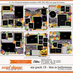 Cindy's Layered Templates - Six Pack 19: This is Halloween by Cindy Schneider Halloween Photos, Halloween Themes, Fall Halloween, Halloween Party, Photo Drop, Scrapbook Templates, Cute Costumes, Six Packs, Layout Template