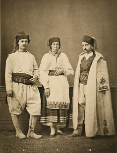 1873 photogravure. (1) Christian woman villager of Chania; (2) Christian villager of Chania; (3) resident of Sphakia. from the province of Crète, Ottoman Empire by Pascal Sabah bestpictresof