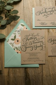 KATHRYN Suite Rustic Package, letterpress wedding invitations, invitations with twine, mint and peach, mint and kraft, green wedding invitations, kraft wedding invitations, rifle paper floral wrapping paper