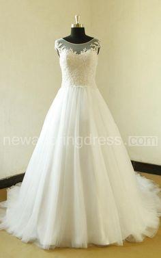 Bateau Neck Cap Sleeve Long A-Line Tulle Wedding Dress With Elegant Beading