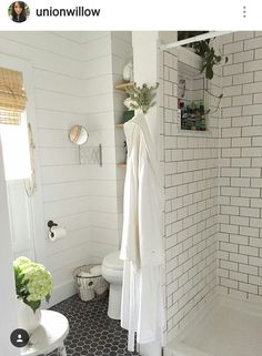 Shower,  toilet layout.  Shelving above toilet and shower cubby